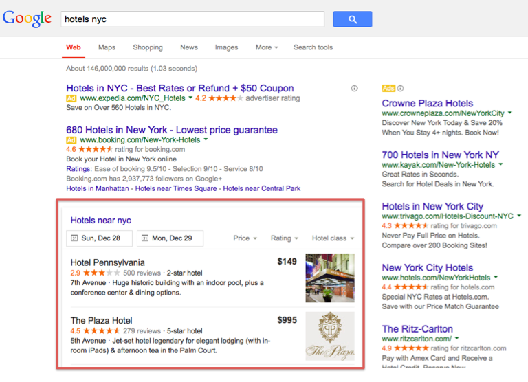 Google Knowledge Graph Carousel with Hotels