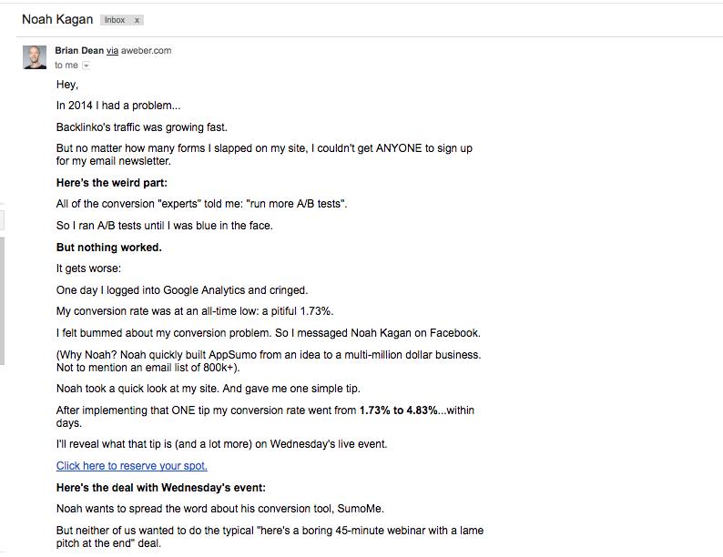Brian Dean SEO tips mass email